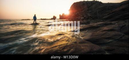 Large row of stone sea erosion geomorphology in Wafangdian, Dalian, Liaoning - Stock Photo