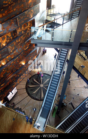 The Stairs & Foyer Inside the Titanic Experience Museum in the Titanic Quarter, Belfast, County Antrim, Northern Ireland, UK. - Stock Photo