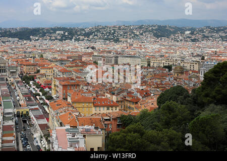Nice old town - Vieille Ville - viewed from Colline du Château (Castle Hill) in Nice, France - Stock Photo