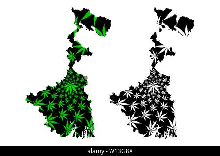 West Bengal (union territories of India, Federated states, Republic of India) map is designed cannabis leaf green and black, West Bengal state map mad - Stock Photo