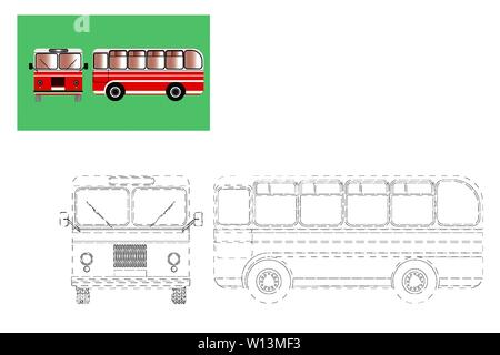 Coloring. Simple educational game for children. Vector illustration of a bus - Stock Photo