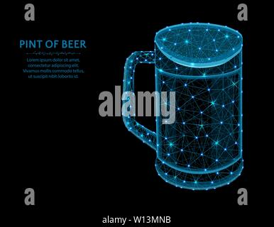 Pint of beer low poly graphic model, polygonal glass mug, alcohol drink wire frame vector illustration on black background - Stock Photo