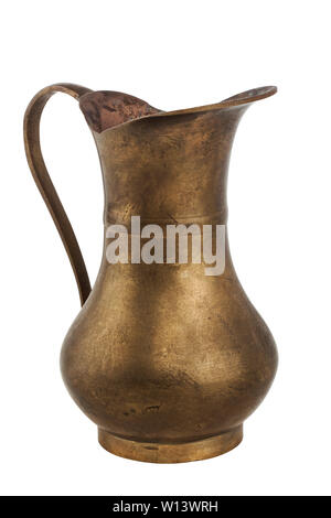 Old copper jug isolated on white background - Stock Photo
