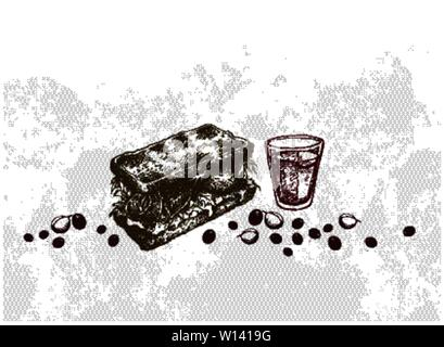Insert Coffee to Begin, Illustration Hand Drawn Sketch of A Cup of Coffee with Vegetarian Sandwich. - Stock Photo