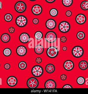 Seamless background. Wheels isolated on a red background. Techno pattern. Texture with different wheels. Theme design for cars and any vehicles, auto - Stock Photo