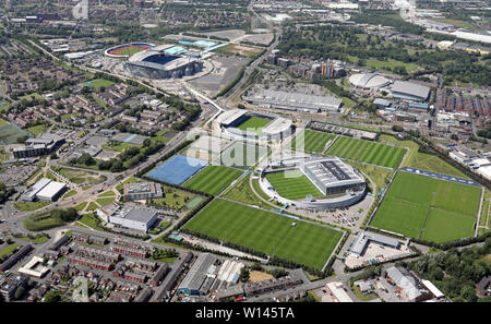 aerial view of the Manchester City Etihad Stadium, City Football Academy & Man City's training ground - Stock Photo