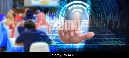 businessman pressing touch button wifi connection icon web social network element internet future with blur background business training conference in - Stock Photo