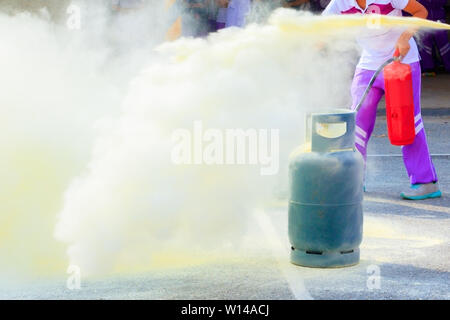 fire fighter Gas tank during a learning training exercise select focus with shallow depth of field. - Stock Photo