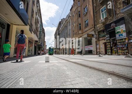 SOFIA, BULGARIA - JUNE 30, 2019: Renovated `Garibaldi` square in Sofia downtown, Bulgaria - Stock Photo