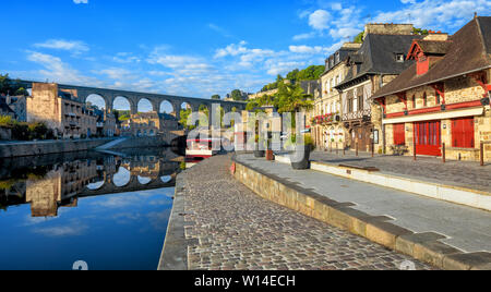 Dinan, panoramic view of the picturesque Old town and the viaduct over the Rance river, Cotes d'Armor, Brittany, France - Stock Photo
