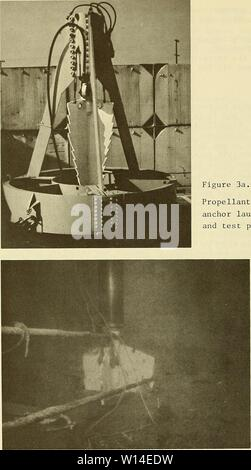 Archive image from page 11 of Design considerations for seafloor foundations. Design considerations for seafloor foundations on rock . designconsiderat00vale Year: 1973  Propellant embedment anchor launch vehicle and test projectile Figure 3b. Propellant embedment anchor rock projectile partially embedded in seafloor rock (Basalt) 10 - Stock Photo