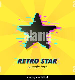 Glitched Star silhouette on pop art bright yellow and orange background. Super Star symbol. Retro star text with vintage environment - Stock Photo