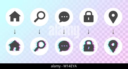 Glitched dashboard icon set with two behavior actions. Business theme vector. Regular flat icons with glitch version on light gradient background. - Stock Photo