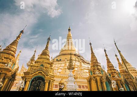 Buddhist pagoda architecture. Famous Buddhist temple Shwedagon Pagoda at Yangon, Myanmar