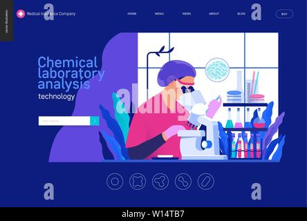 Medical tests Blue template -chemical laboratory analysis - modern flat vector concept digital illustration - laboratory analysis -woman laboratory as - Stock Photo