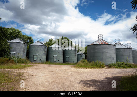 A Row of Green Metal Grain Storage Silo Tanks on a Rural Farm in Derbyshire  UK - Stock Photo