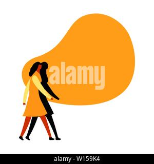 Woman walking and talking using speech bubble. Empty space for the message. Idea of communication and promotion. Isolated flat vector illustration - Stock Photo