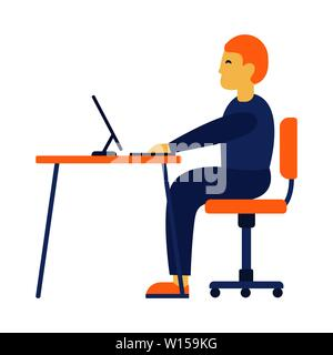 Illustration of tired man working on computer on white background. Business man at his desk is working on the laptop computer. Vector illustration in - Stock Photo