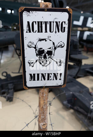 German WWII warning sign on land mines at the Norwegian Armed Forces Aircraft Collection in Gardemoen, Norway. - Stock Photo