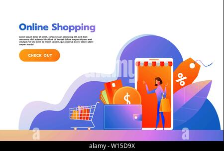 Landing page template of Online Shopping. Modern flat design concept of web page design for website and mobile website. Vector illustration - Stock Photo