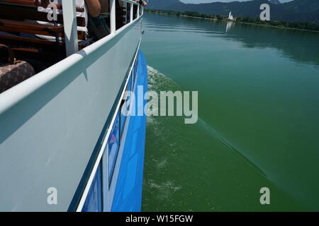 A boat trip on a Bavarian lake in summer - Stock Photo