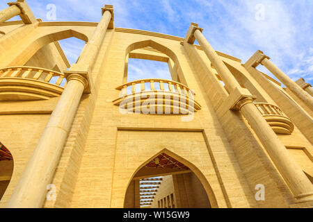 Bottom view of amphitheater entrance, a classical Greek theatre in Katara Village also named valley of cultures, Doha, Qatar, located between West Bay - Stock Photo