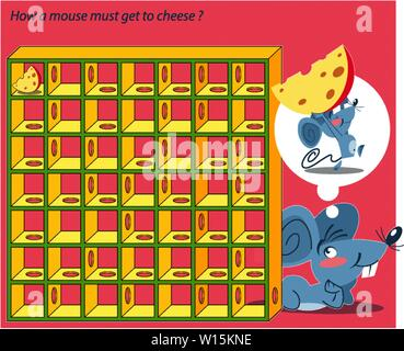 In vector illustration a puzzle in which you need to help the mouse to get to the cheese through the maze - Stock Photo