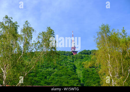 Communications and broadcast tower on top of mountain, red and white antenna on top of forrested slope, Boc in Slovenia - Stock Photo