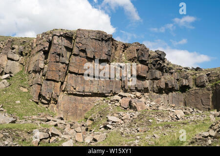 View within the disused Crowden Great Quarry or Loftend Quarry, Derbyshire, England, UK - Stock Photo