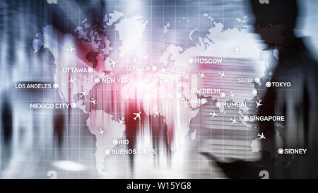 Global Aviation Abstract Background with planes and city names on a map. Business Travel Transportation concept - Stock Photo