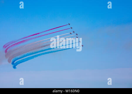 The Royal Air Force Red Arrows Aerobatic Team - Stock Photo