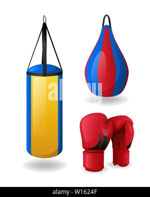 Boxing equipment set isolated, red gloves and punching bags - Stock Photo