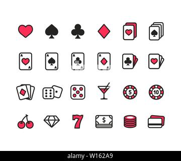 Casino line icon set. Poker cards, dice and chips, slot machine symbols and money. Simple modern style vector icons. - Stock Photo