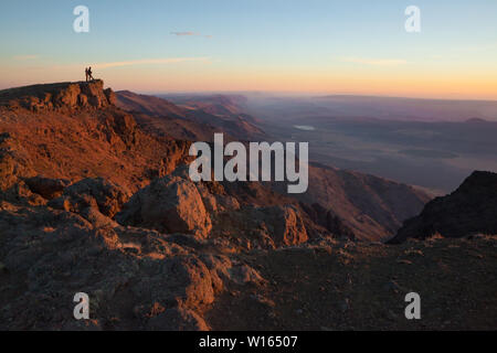 Sunrise on the Summit of Steens Mountain Near Frenchglen Oregon - Stock Photo