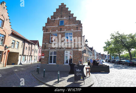 The traditional Cafe Molenhuis located in historic centre of Bruges. Belgium. - Stock Photo