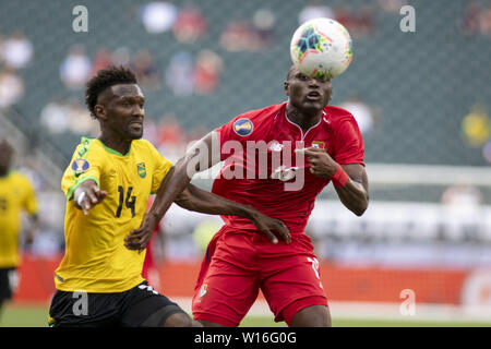 Philadelphia, Pennsylvania, USA. 30th June, 2019. SHAUN FRANCIS (14) fights for the ball with ERIC DAVIS (15) during the match the match in Philadelphia PA Credit: Ricky Fitchett/ZUMA Wire/Alamy Live News - Stock Photo