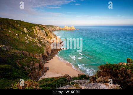 Editorial: National Trust Land, Unknown member of the public. Porthcurno, Cornwall, UK. 31/05/2019. Looking across from Porthcurno to Pednvouder. - Stock Photo