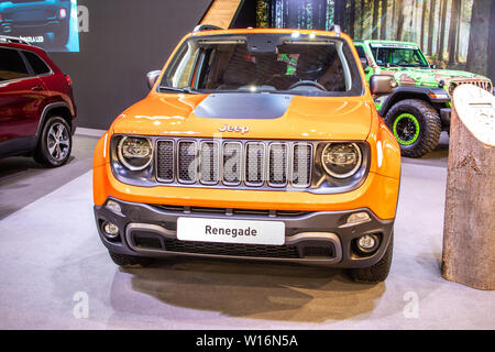Poznan, Poland, March 2019: Jeep Renegade at Poznan International Motor Show, BU/520, Facelift, subcompact crossover SUV produced by Jeep - Stock Photo