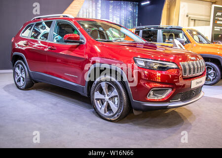 Poznan, Poland, March 2019 Jeep Cherokee 4x4, Poznan International Motor Show, Fifth generation (KL), Mid-size SUVs produced by American Jeep - Stock Photo