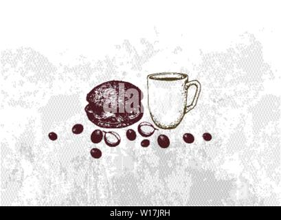 Energy Time, Illustration Hand Drawn Sketch of A Cup of Coffee with Hamburger. - Stock Photo