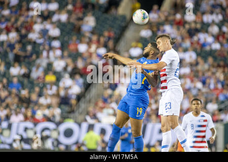 Philadelphia, Pennsylvania, USA. 30th June, 2019. JAFAR ARIAS (19) and AARON LONG (23) in action during the match in Philadelphia PA Credit: Ricky Fitchett/ZUMA Wire/Alamy Live News - Stock Photo