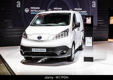 Brussels, Belgium, Jan 2019 Nissan e-NV200 Electric Concept Car, Brussels Motor Show, electric VAN designed for an autonomous future by Nissan - Stock Photo