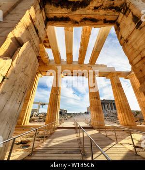 Temple of Athena Nike Propylaea Ancient Entrance Gateway Ruins Acropolis Athens - Greece, nobody - Stock Photo