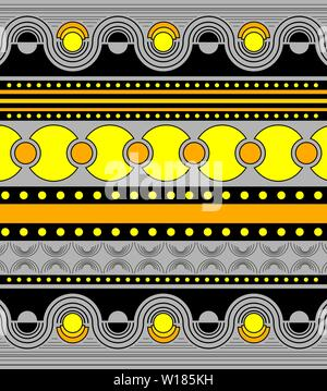 Beautiful bright ornament in grey, yellow, and black colors. Symmetrical horizontal ornament in rows with geometric figures: curved lines, waves - Stock Photo
