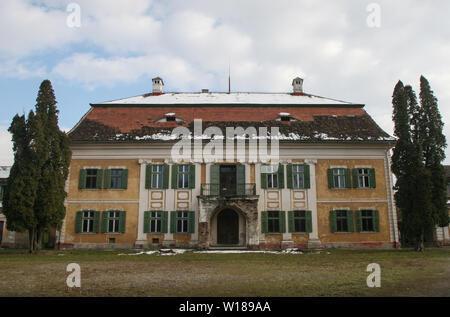 SIBIU, ROMANIA - March 13, 2010: Old Palace Brukenthal Avrig in Romania. - Stock Photo