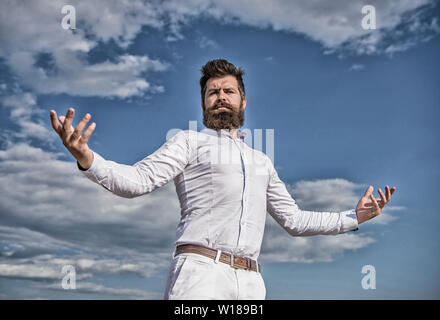 Self proud feeling. Hipster beard and mustache looks attractive white shirt. Guy enjoy top achievement. Superiority and power. Man bearded hipster formal clothes feels proud of himself sky background. - Stock Photo