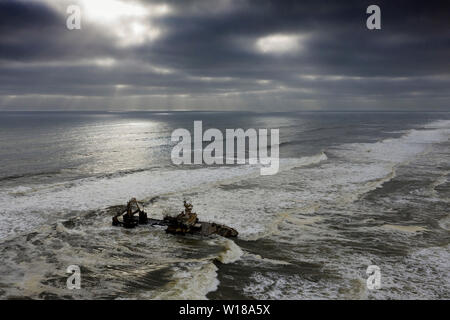 Shipwreck Zeila at Skeleton Coast, Henties Bay, Namibia - Stock Photo