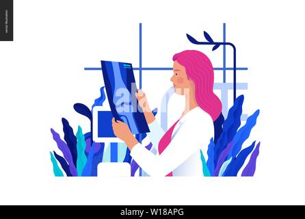 Medical tests blue illustration - x-ray test - modern flat vector concept digital illustration of x-ray image - a doctor looking at the radiograph , i - Stock Photo