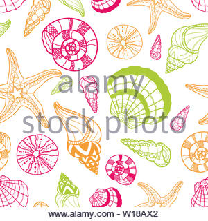 Fun seashell seamless pattern, hand drawn colorful shells starfish and dark background, beautiful cartoon design for kid - great for summer textile pr - Stock Photo