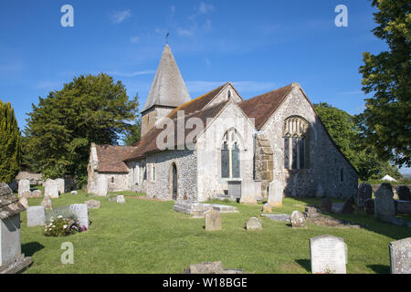 the parish church of st peter in rodmell village in east sussex - Stock Photo